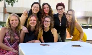 Me, Felice, Hannah R., Maya, Mimi, Ya'el, and Irene at the Ulpan celebration