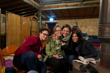 """glamping"" in the north with the OSP group (pictured are Ya'el, Mimi, Felice, and Manuela)"