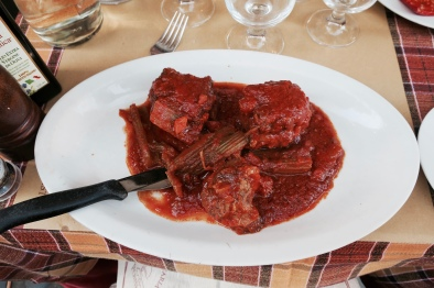 one of the top ten meals of my life, ox tail in marinara and ox blood sauce