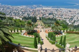 A view of the Bahai gardens and Haifa port.